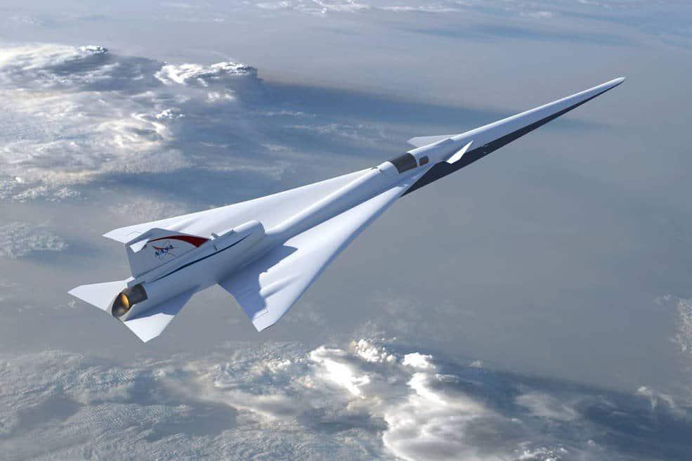 Un'altra visuale del jet supersonico X-59 che mostra la posizione dell'abitacolo
