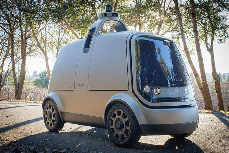 Ecco R1, uno dei veicoli autonomi di Nuro usato per la consegna di cibo
