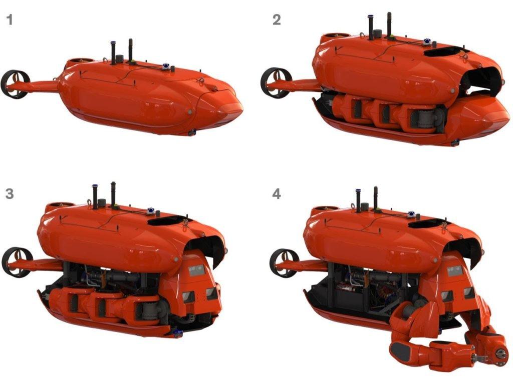 Le fasi della trasformazione del robot transformer subacqueo