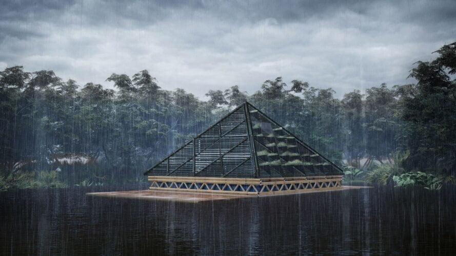 Rifugio di bambù chiuso