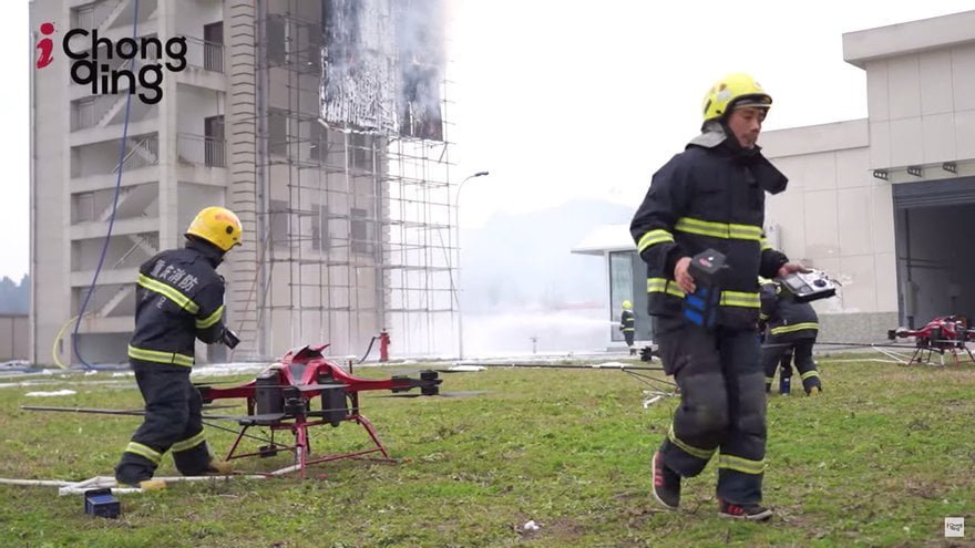 Firefighter fire drone