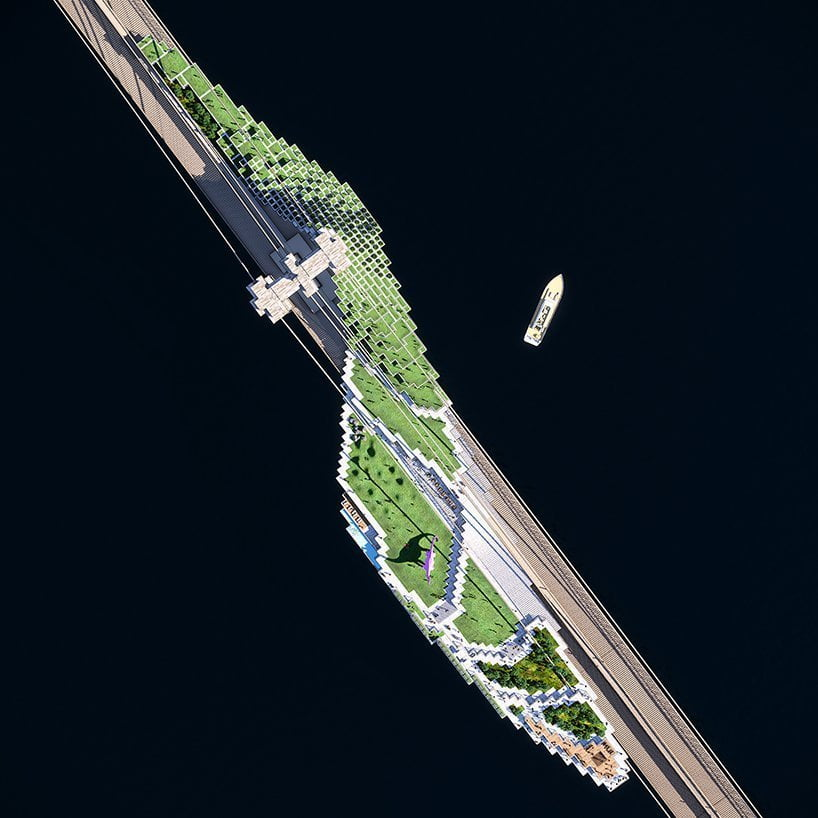 Brooklyn Bluff, fantastico progetto di infrastruttura vivente proposto da daniel gillen per il ponte di brooklyn