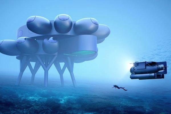 Una ricostruzione del laboratorio subacqueo Proteus, il progetto di Cousteau per una vera e propria stazione spaziale subacquea