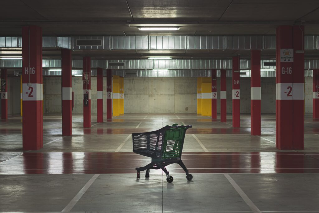 shopping cart in indoor parking lot