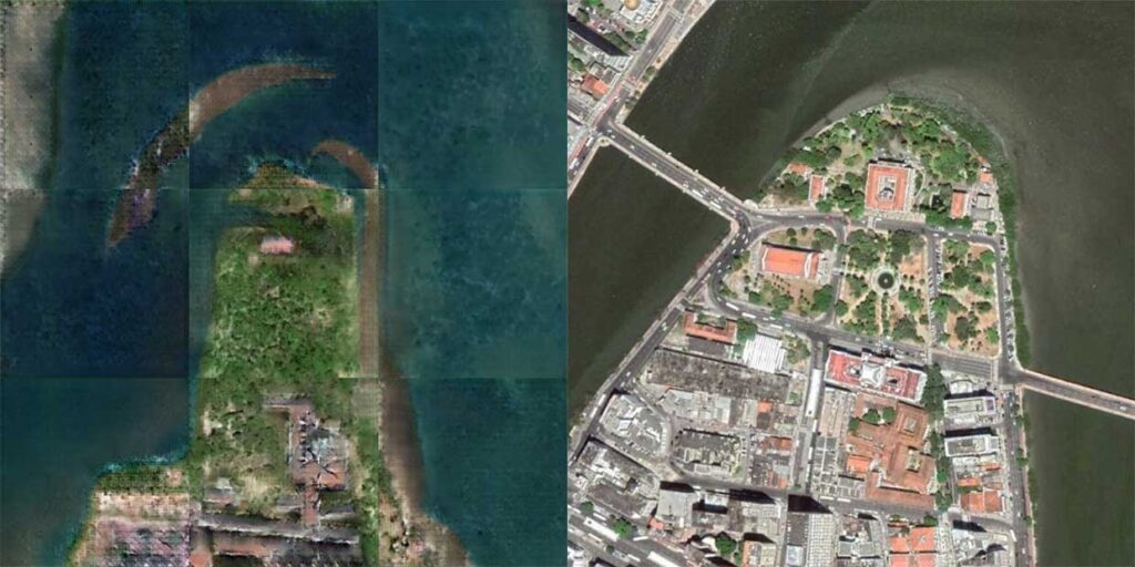Immagini satellitari moderne da mappe antiche