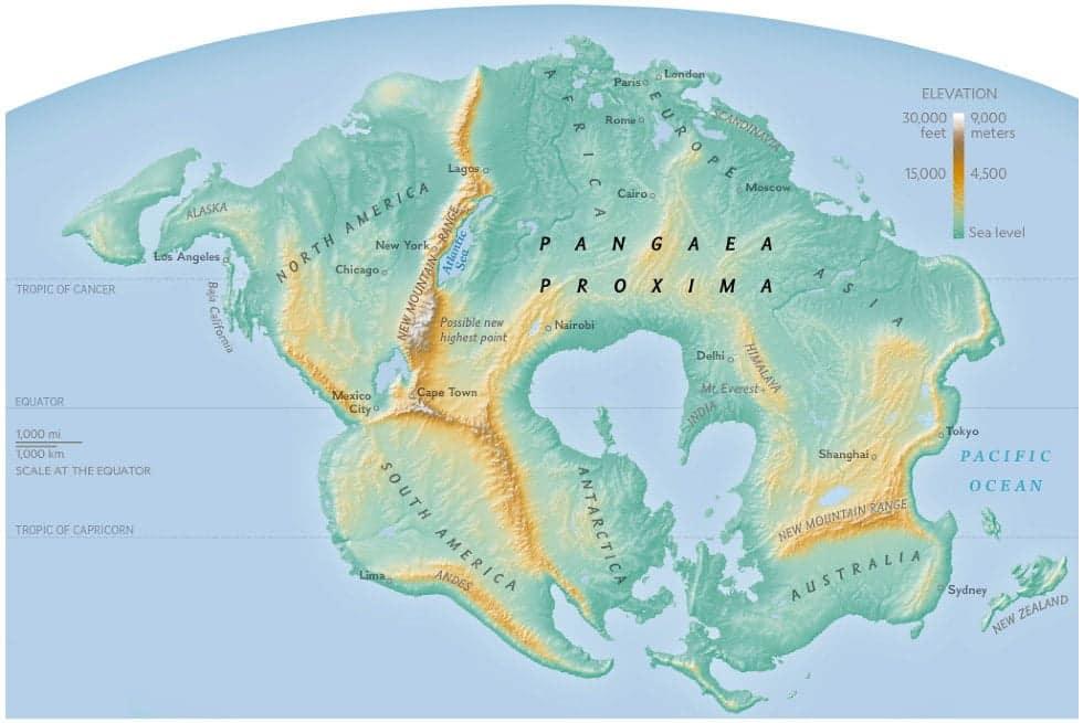 mappa del mondo futuro